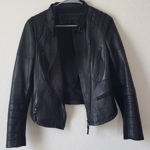 Zara Lamb Skin Moto Jacket